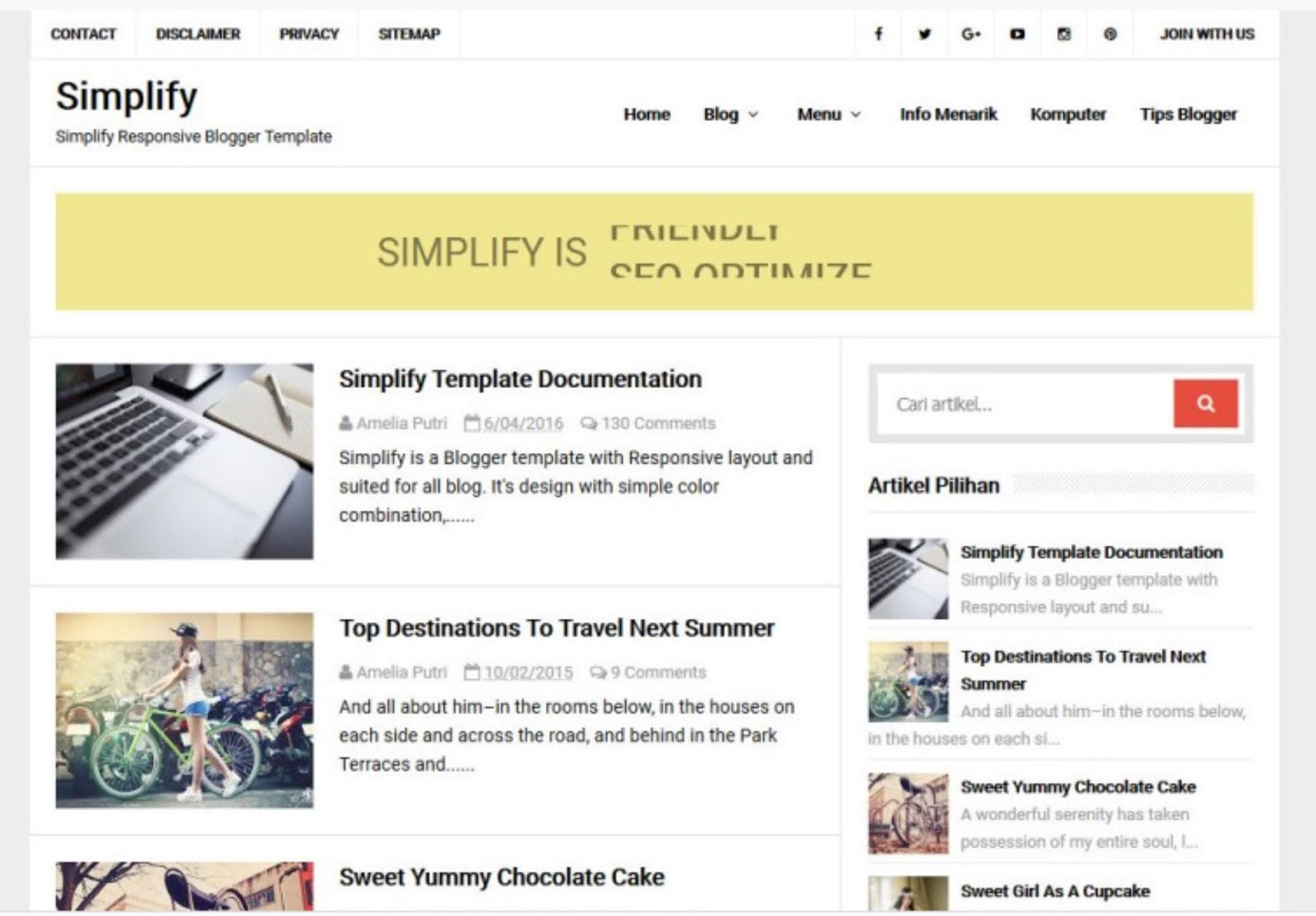 simpifly template blogger